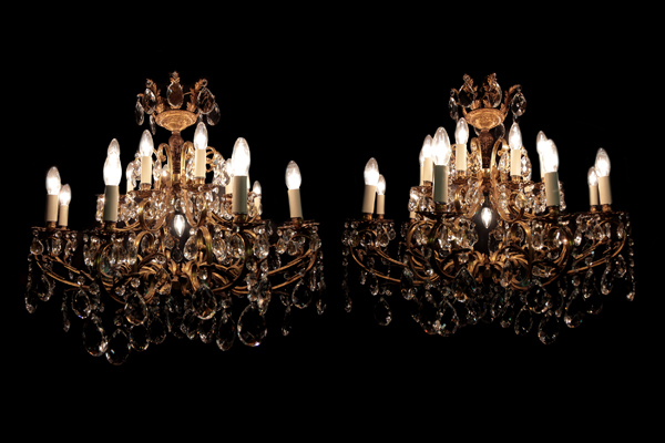 Restored Pair Italian Chandelier Circa 1930